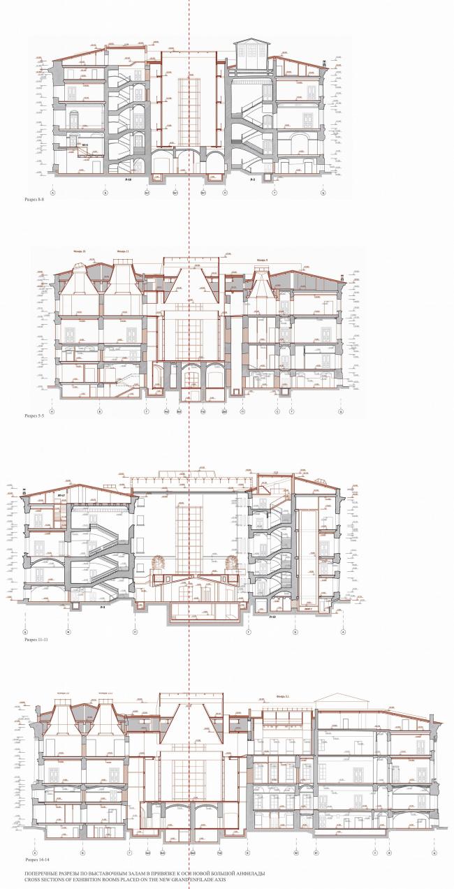 Государственный Эрмитаж, новая Большая Анфилада в восточном крыле Главного Штаба, Санкт-Петербург. Разрезы