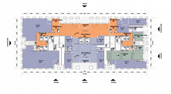 Многоэтажный жилой дом «The MID». План-схема 1-го этажа. Реализация, 2017 © SPEECH