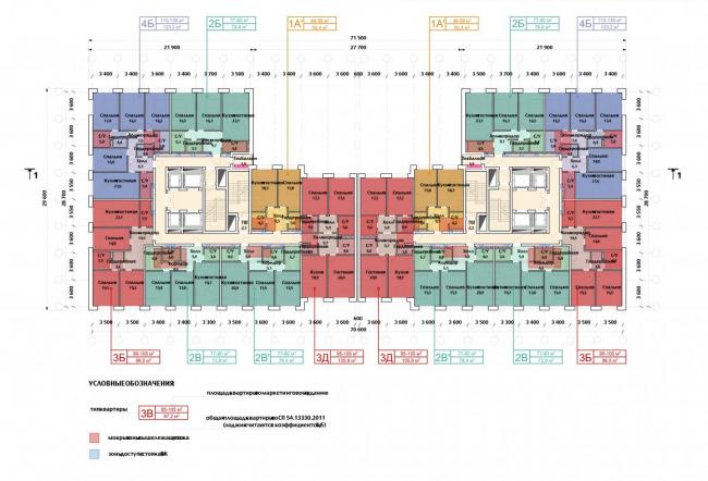 Многоэтажный жилой дом «The MID». План-схема типового этажа с планировкой квартир. Реализация, 2017 © SPEECH