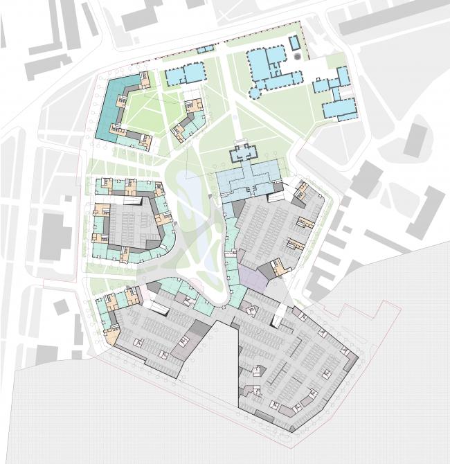 Жилой комплекс «Серебряный фонтан». План -1 этажей. Проект, 2016 © Атриум