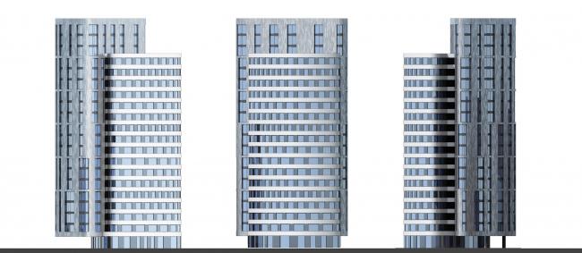 Жилой комплекс «Серебряный фонтан». Фасады. Проект, 2016 © Атриум