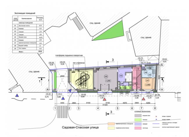 Административно-деловое здание в Мясницком проезде. План 1-го этажа. Проектная организация: «ЭПИ Моспроект-5». Заказчик: «Вектор»