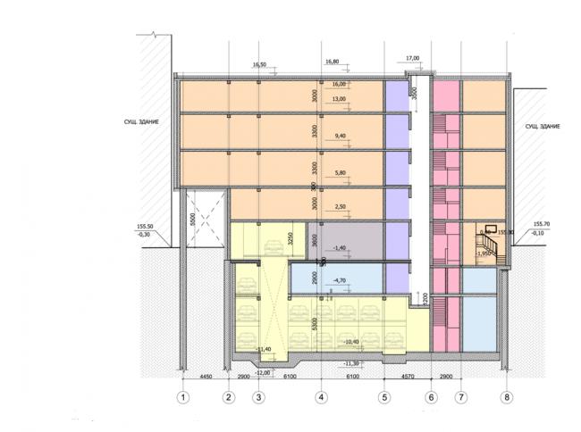 Административно-деловое здание в Мясницком проезде. Разрез. Проектная организация: «ЭПИ Моспроект-5». Заказчик: «Вектор»