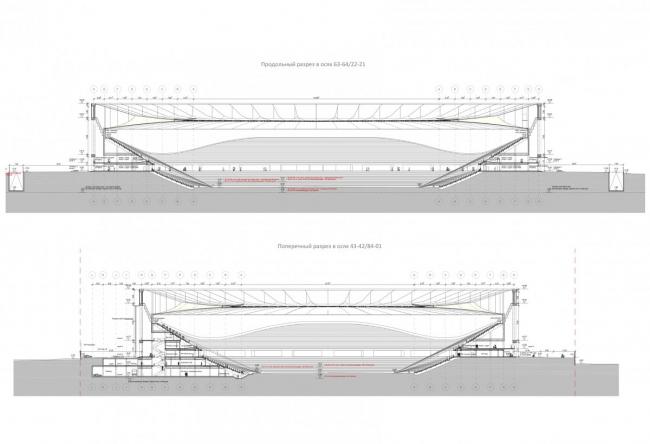 Cтадион ФК «Краснодар». Разрезы. Проект, 2011-2013 © SPEECH
