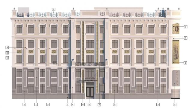 Проект реконструкции офисного здания под гостиничный комплекс на Большой Якиманке. Решение фасадов © «Хоумленд Архитектура»