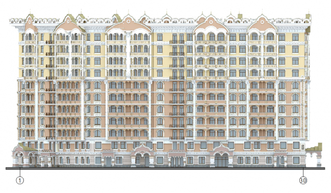 Гостиница с апартаментами на улице Казакова. Схема фасадов в осях 1-30 со стороны ж/д путей (на основе М 1:200) © «Атоминжиниринг»