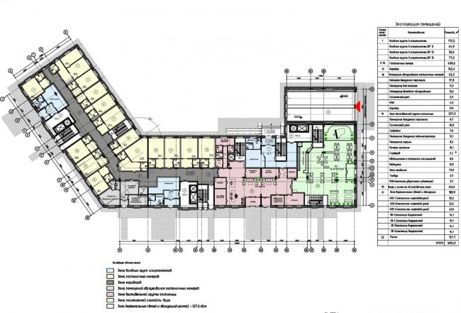 Гостиница с апартаментами на улице Казакова. Схема плана 1-го этажа (на основе М 1:200) © «Атоминжиниринг»