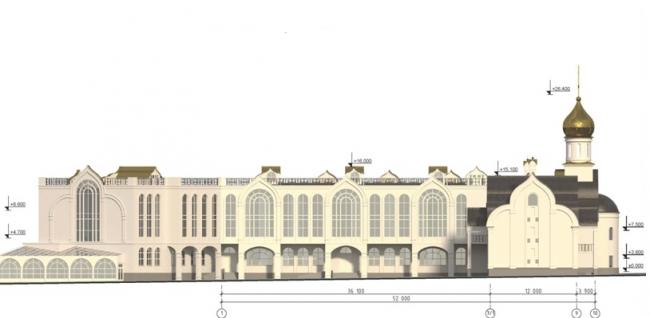 Проект православного духовного центра с гимназией в Южном Бутово. Схема фасада 1-10 на основе М 1:200. Проектировщик ООО «Рионела»