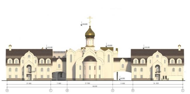 Проект православного духовного центра с гимназией в Южном Бутово. Схема фасада А-С на основе М 1:200. Проектировщик ООО «Рионела»