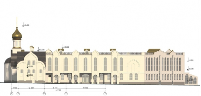 Проект православного духовного центра с гимназией в Южном Бутово. Схема фасада 10-1 на основе М 1:200. Проектировщик ООО «Рионела»