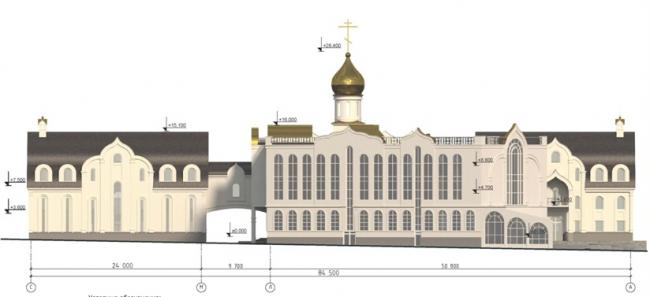 Проект православного духовного центра с гимназией в Южном Бутово. Схема фасада С-А на основе М 1:200. Проектировщик ООО «Рионела»