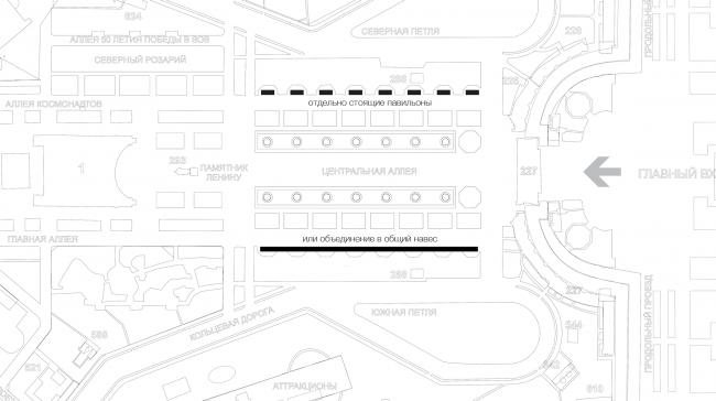 Павильон на ВДНХ. Генеральный план. Реализация, 2014 © Kleinewelt Architekten
