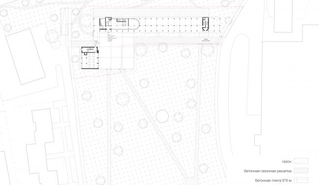 Реставрация Дома Наркомфина. Генеральный план. Проект, 2014 © Kleinewelt Architekten