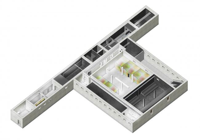 Центр современного искусства МАРС в Абрау-Дюрсо. Аксонометрия. Реализация, 2016 © Nowadays