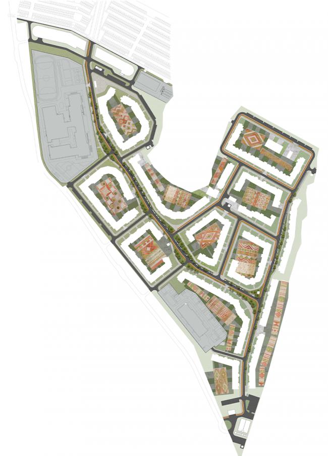 Проект благоустройства жилого комплекса «Пятницкие кварталы» (двор-ковер). Генеральный план. Проект, 2016 © Nowadays