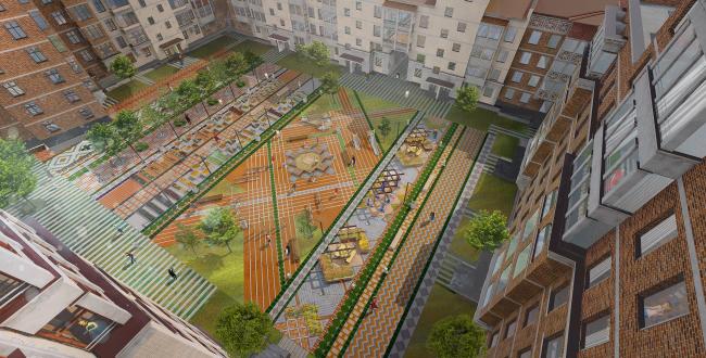 Проект благоустройства жилого комплекса «Пятницкие кварталы» (двор-ковер). Проект, 2016 © Nowadays