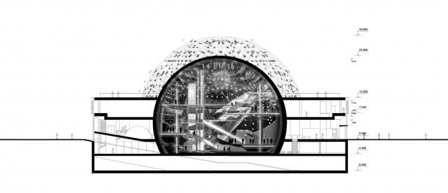 Павильон «Росатом» на ВДНХ. Разрез. Конкурсный проект, 2015 © Nowadays