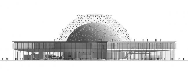 Павильон «Росатом» на ВДНХ. Фасад. Конкурсный проект, 2015 © Nowadays