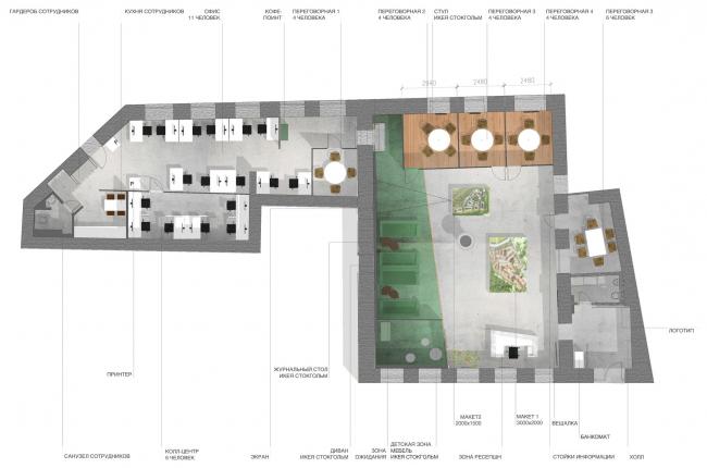 Интерьер офиса продаж компании «Вектор Инвестментс». План © Nowadays