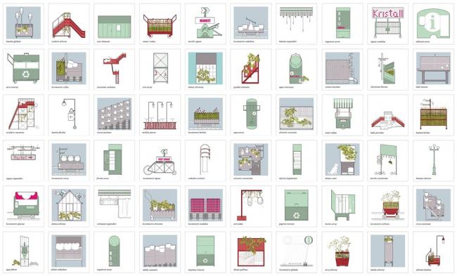 Концепция развития общественных пространств территории завода «Кристалл». Малые архитектурные формы. Проект, 2015 © Nowadays