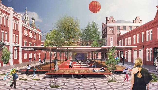Концепция развития общественных пространств территории завода «Кристалл». Проект, 2015 © Nowadays
