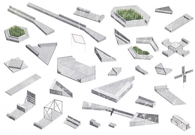 Благоустройство площади Промышленности перед павильоном «Космос» на ВДНХ. Малые архитектурные формы. Реализация, 2014 © Nowadays