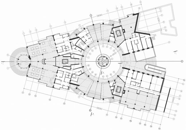 Жилой дом, 10-ая Советская ул., д.4-6. Санкт-Петербург. Студия 44 . План на уровне первого этажа
