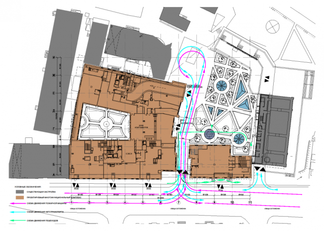 Гостиничный комплекс с апартаментами на Остоженке. Транспортная схема (М 1:250) © «Дмитрий Пшеничников и партнеры», «Финпроект» и «Фабрика Современной Архитектуры»