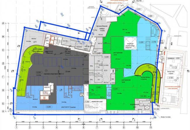 Гостиничный комплекс с апартаментами на Остоженке. Дом 6, стр.1. План 1-го этажа © «Дмитрий Пшеничников и партнеры», «Финпроект» и «Фабрика Современной Архитектуры»