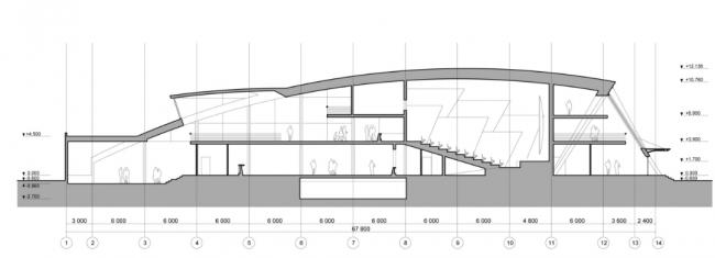 Развлекательный центр «ЛАНГАЛ». Разрез А-А. Реализация, 2004 © Четвертое измерение