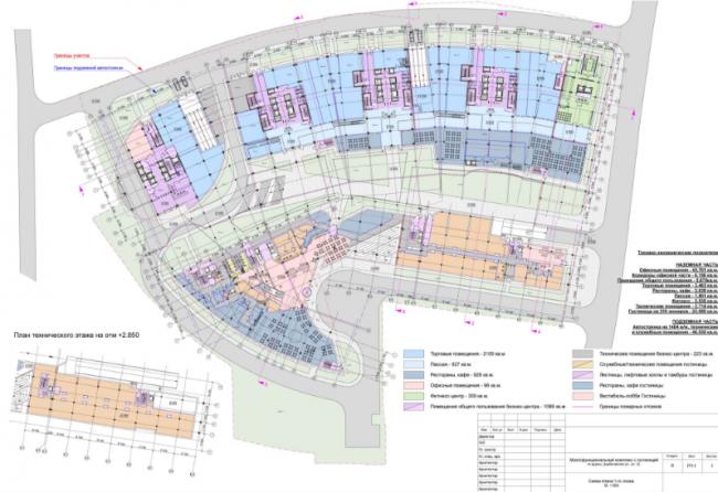 Многофункциональный комплекс «Дербеневский». План технического этажа на отм. +2.850 © Четвертое измерение