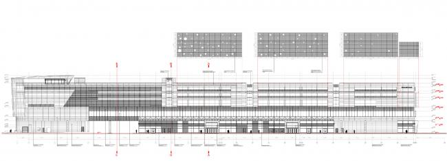Транспортно-пересадочный комплекс «Планерная». Фасад м/о 1-23. Масштаб 1:400