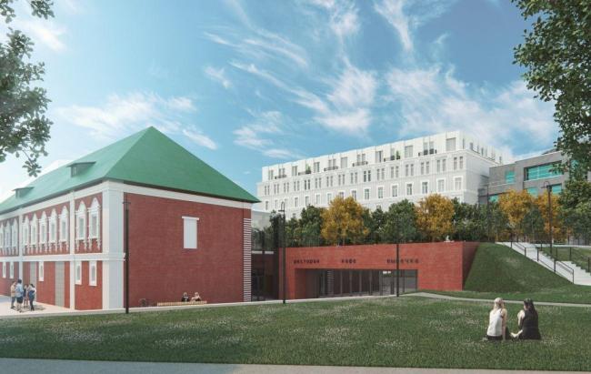 Концепция реконструкции здания под многофункциональный комплекс с гостиницей и апартаментами на улице Остоженка. Предложение по реставрации Красных палат. Проектная организация: Buromoscow. Заказчик: «Абсолют»