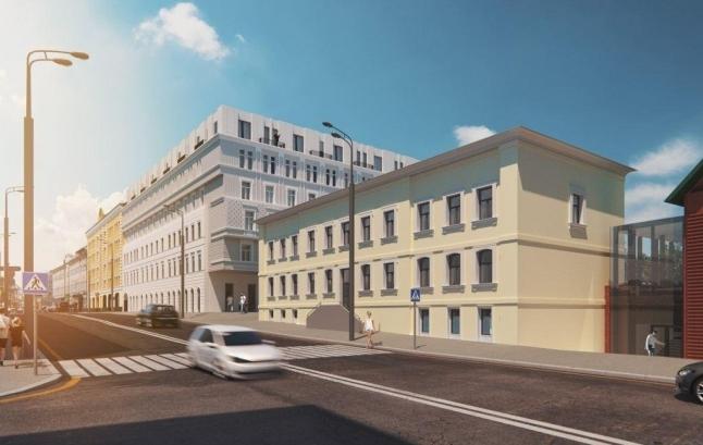 Концепция реконструкции здания под многофункциональный комплекс с гостиницей и апартаментами на улице Остоженка. Вид со стороны Остоженки.  Проектная организация: Buromoscow. Заказчик: «Абсолют»
