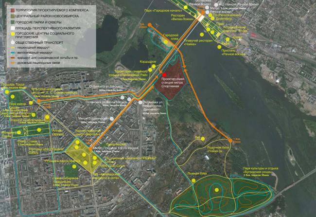 Архитектурно-планировочная концепция проекта «Новосибирск-Арена». Схема основных пешеходных маршрутов. Проект, 2016 © Архстройдизайн