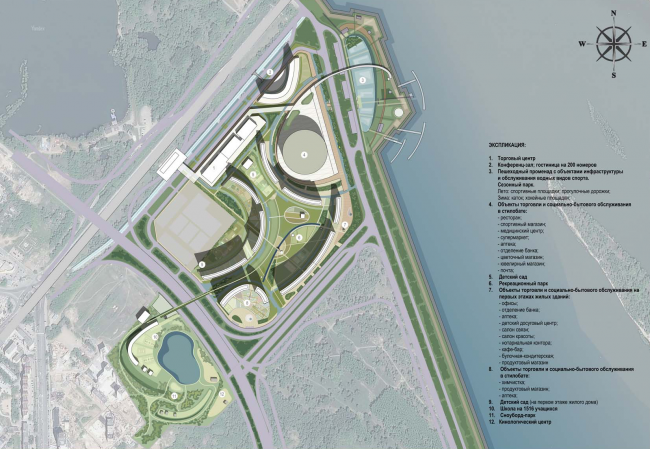 """Architectural and planning concept of """"Novosibirsk Srena"""" project. Master plan. Project, 2016 © Arkhstroydesign"""