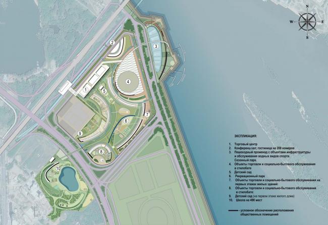 Архитектурно-планировочная концепция проекта «Новосибирск-Арена». Схема расположения основных объектов. Проект, 2016 © Архстройдизайн