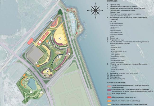 Архитектурно-планировочная концепция проекта «Новосибирск-Арена». Схема с указанием социально-бытовых объектов. Проект, 2016 © Архстройдизайн