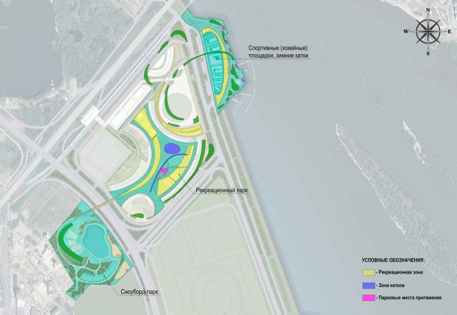 Архитектурно-планировочная концепция проекта «Новосибирск-Арена». Схема устройства тематических парковых зон. Проект, 2016 © Архстройдизайн