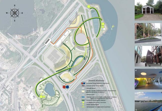Архитектурно-планировочная концепция проекта «Новосибирск-Арена». Схема основных пешеходных и велосипедных маршрутов. Проект, 2016 © Архстройдизайн