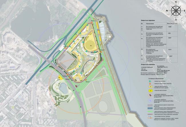 Архитектурно-планировочная концепция проекта «Новосибирск-Арена». Схема организации транспорта. Проект, 2016 © Архстройдизайн