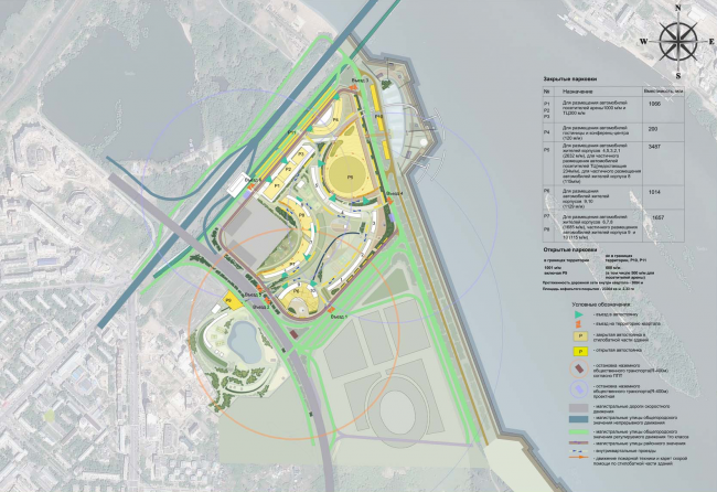 "Architectural and planning concept of ""Novosibirsk Srena"". Transport diagram. Project, 2016 © Arkhstroydesign"