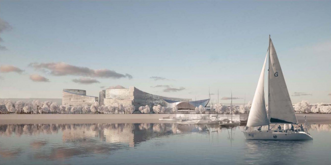 "Architectural and planning concept of ""Novosibirsk Srena"" project. View from the river. Project, 2016 © Arkhstroydesign"