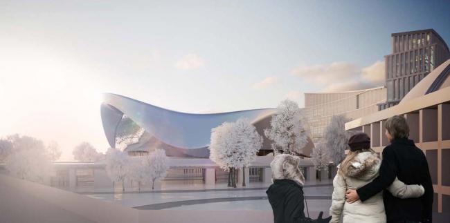 Архитектурно-планировочная концепция проекта «Новосибирск-Арена». Вид на арену. Проект, 2016 © Архстройдизайн