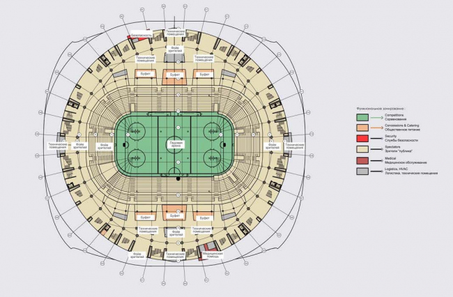 "Architectural and planning concept of ""Novosibirsk Srena"" project. Plan of the arena. Project, 2016 © Arkhstroydesign"
