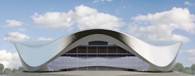 Архитектурно-планировочная концепция проекта «Новосибирск-Арена». Фасад арены. Проект, 2016 © Проектный институт «Арена»