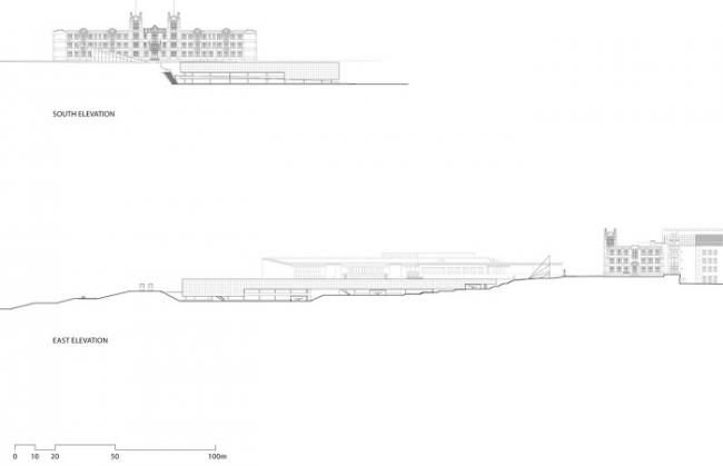 Используемая крыша паркинга переделанная в футбольное поле © Bing Thom Architects