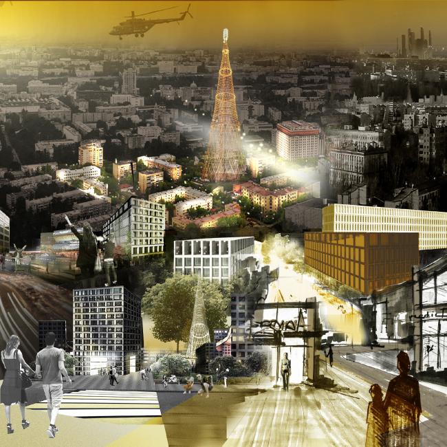 The power of tower / Вокруг башни. Проект, выполненный в рамках воркшопа «Лаборатория преобразований. Шаболовка: модель для жизни» (AAVS + МАРШ) © AAVS