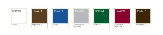 Стандартная цветовая гамма откатных ворот ADS400. Изображение предоставлено компанией «АЛЮТЕХ»