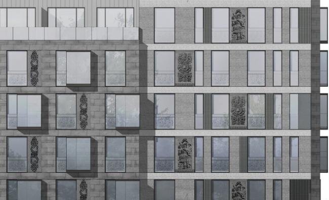 Жилой комплекс на улице Короленко. Проект, 2014 © Архитектурное бюро «А.Лен»
